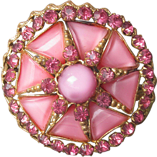 1930's Vintage Czech Pink Moonglow Glass Cabochon & Rhinestone Pin