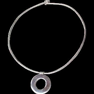 Vintage Modernist Sterling Silver Solid Omega Collar Necklace with Circle SLIDE Pendant