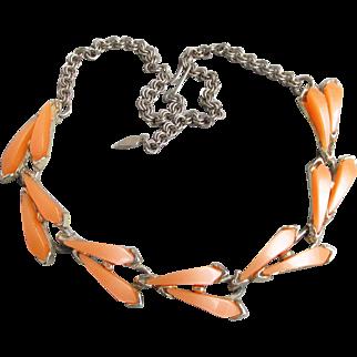 Vintage 1950's Unusual Orange Sherbet Lucite Modernist Thermoset Necklace