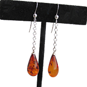 """My Secret Garden"" Genuine Amber Artisan Sterling Silver Dangle Earrings, ""Honey Tear Drops"" #123"