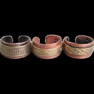 Set of 3 Vintage Solid Copper & Brass Adjustable Band Rings