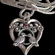 1981 Vintage Sterling Silver & Ruby Love Birds Heart Necklace, Franklin Mint