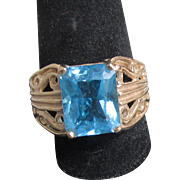 Pretty 1980's Vintage 10k Yellow Gold Filigree Emerald Cut Blue Topaz Ring, Size 7