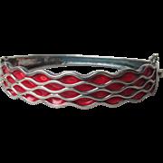 Vintage Black Sterling Silver & Wavy Red Enamel Hinged Cuff Bracelet