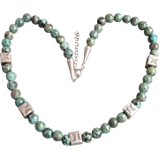 Vintage Native American Natural Blue/Green Jasper & Sterling Silver Bead Necklace
