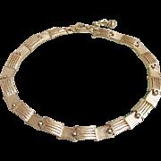 Vintage TRIFARI Modernist Reversible Textured Gold Tone Links Necklace