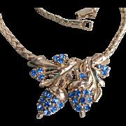 Retro 1940's Blue Rhinestone Acorn Gold Tone Choker Necklace