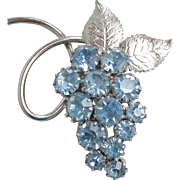Vintage Silver Tone Baby Blue Rhinestone GRAPE Bunch Pin