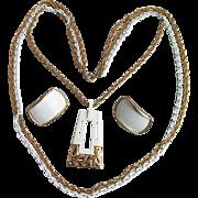 1970's Vintage Modern White Enamel Gold Tone Pendant with LONG Triple Chain Necklace & Earrings Set