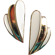 Trifari Ivory Enamel Gold Tone Vintage 1990's Modernist Fan Shaped Pierced Earrings
