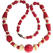 Vintage 1930's Carved Cherry Red & Ivory Genuine Bakelite Bead Art Deco Necklace