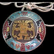 Vintage Peruvian Sterling Silver & 18k Gold, Enamel Inca Viracocha Pin Pendant< Signed