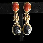 Vintage 1960's Long Dangle Gold Tone SCARAB Earrings