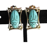Vintage 1960's Signed JUDY LEE Turquoise Blue Scarab Earrings