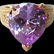 Vintage Huge Lavender Pear Cubic Zirconia Sterling Silver Gold Vermeil Ring, Size 8