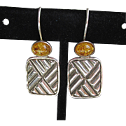 Sterling Silver & Honey Amber Vintage Drop Pierced Earrings
