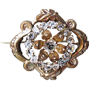 Antique Victorian Paste Gilt Silver Canetille Filigree Pin
