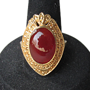 BIG 1980's Vintage Lacy Gold Plated Sterling Silver Vermeil Carnelian Ring, Size 8