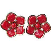 BIG 1950's Vintage Cherry Red Thermoset Lucite & Rhinestone Flower Earrings