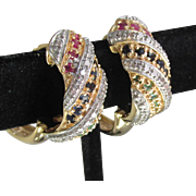 Vintage Genuine Ruby, Sapphire, Emerald Gold Plated Sterling Silver Pierced Hoop Earrings