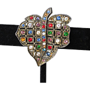 1930's Art Deco Vintage Dress Clip, Multi Color Rhinestone Leaf Pin