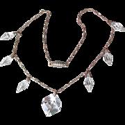 1930's Vintage Art Deco Cut Glass Crystal Briolette Dangles Paperclip Chain Necklace