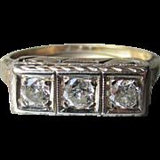 Antique Victorian 14k Gold Three Diamond Bar Ring