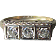 Vintage 1920's Art Deco 14k Gold Three Diamond Bar Ring