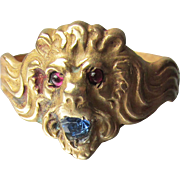 Antique Art Nouveau Gold Filled LION Head Ring, Rhinestone Mouth & Eyes, Size 10