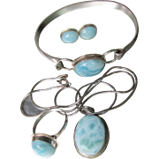 Gorgeous! Vintage Sterling Silver Blue Larimar Parure, Bracelet, Necklace, Earrings, Ring Set