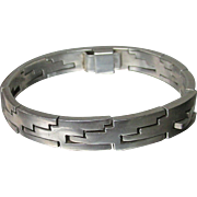 HEAVY Modernist Block Hinge Vintage Taxco Mexican Sterling Silver Bracelet