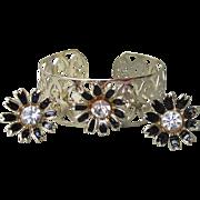 1950's Vintage Black Enamel & Rhinestone FLOWER Filigree Gold Tone Cuff Bracelet, Earrings Set
