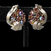 Signed LISNER Vintage Amber Aurora Borealis Rhinestone Textured Gold Tone Earrings