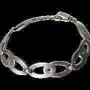 Signed Vintage Art Deco WRE Richards Sterling Silver Oval Link Bracelet