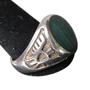 Vintage Native American Sterling Silver Malachite THUNDERBIRD Ring, Size 9
