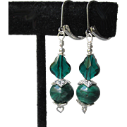 """My Secret Garden"" Malachite, Swarovski Crystal, Sterling Silver Dangle Artisan Earrings, ""The Emerald Lake"" #125"