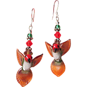 """My Secret Garden"" Lampwork Art Glass, Swarovski Crystal, Sterling Silver Leverback Dangle Artisan Earrings, ""Anna's Hummingbirds"" #136"