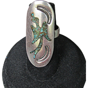 1970's Vintage Native American Zuni Hand Crafted Peyote Thunderbird Ring Sterling Silver Turquoise Chip, Size Small 4.75