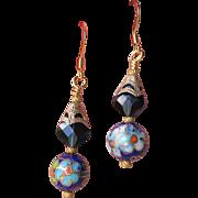 """""""My Secret Garden"""" Artisan Swarovski Crystal Gold Plated Sterling Silver Dangle Earrings, """"Stormy Bluebonnets"""" #138"""