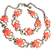 Vibrant Orange Thermoset Vintage Lucite Necklace & Bracelet Set