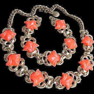 Vibrant Orange Thermoset Vintage Lucite Necklace & Bracelet Set