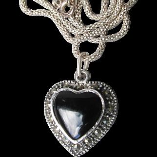 Pretty 1980's Vintage Sterling Silver, Black Onyx, & Marcasite Heart Pendant Necklace