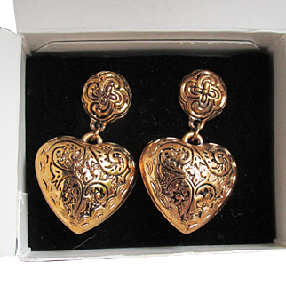 1990's Vintage Avon Etched Heart Pierced Puffy Gold Tone Earrings, Mint In Box