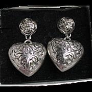 1990's Vintage Avon Etched Heart Pierced Puffy Silver Tone Earrings, Mint In Box