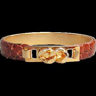 1970's Vintage Brown Snakeskin Snap Top Cuff Modernist Bracelet