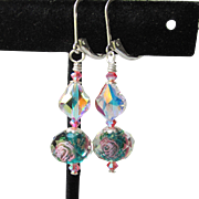 """My Secret Garden"" Artisan Lampwork Art Glass & Swarovski Crystal Sterling Silver Earrings, ""Crystal Rose"" #139"
