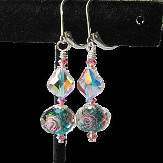 """My Secret Garden"" Artisan Lampwork Art Glass & Swarovski Crystal Sterling Silver Earrings, ""Crystal Rose"" #139"