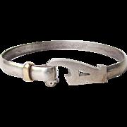 """14k Gold & Sterling Silver Signed MD Originals Vintage 1990's Interlocking Initial """"A"""" Bangle Bracelet"""