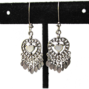 Sterling Silver Mother-of-Pearl HEART Vintage Dangle Hippie Earrings