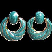 1980's Vintage Turquoise Enamel Gold Tone Door Knocker Hoop Clip Earrings